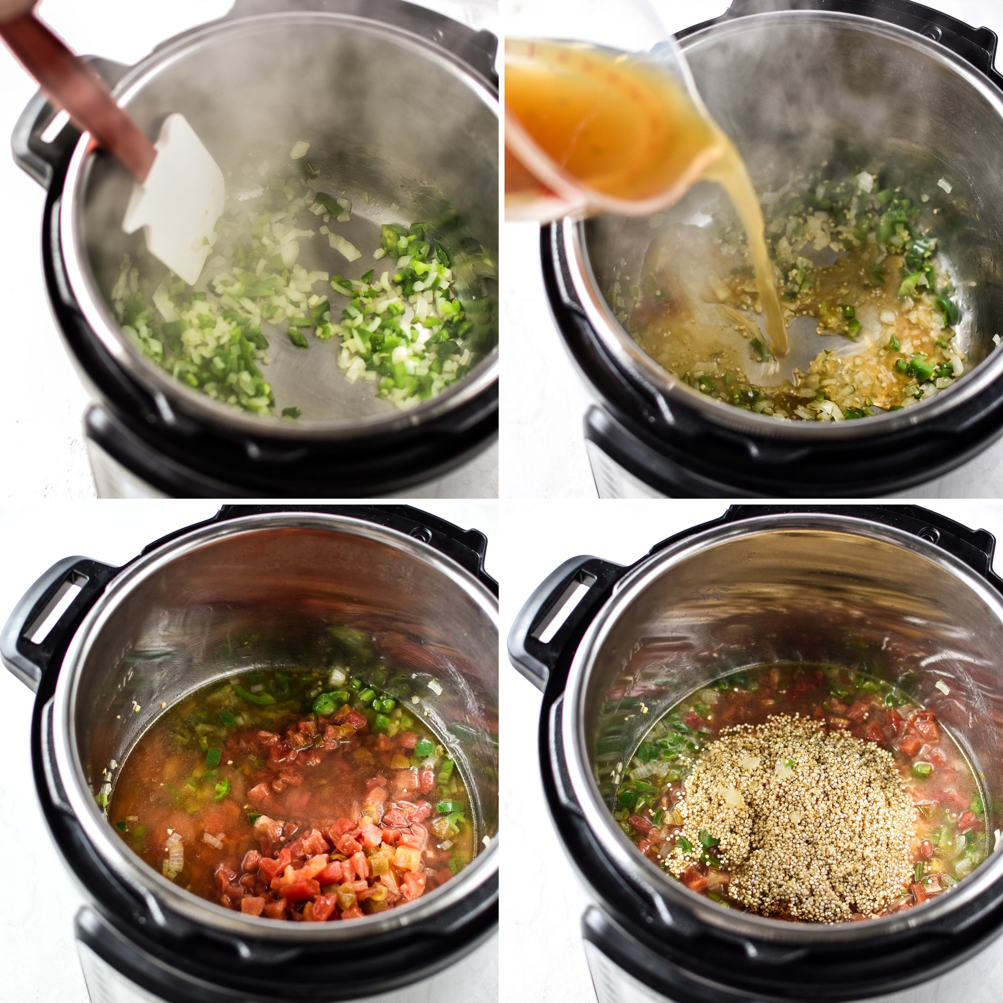 Four photos showing steps to making Mexican Quinoa in the Instant Pot. Start with jalapenos and onion, add broth, tomatoes, quinoa, then cook.