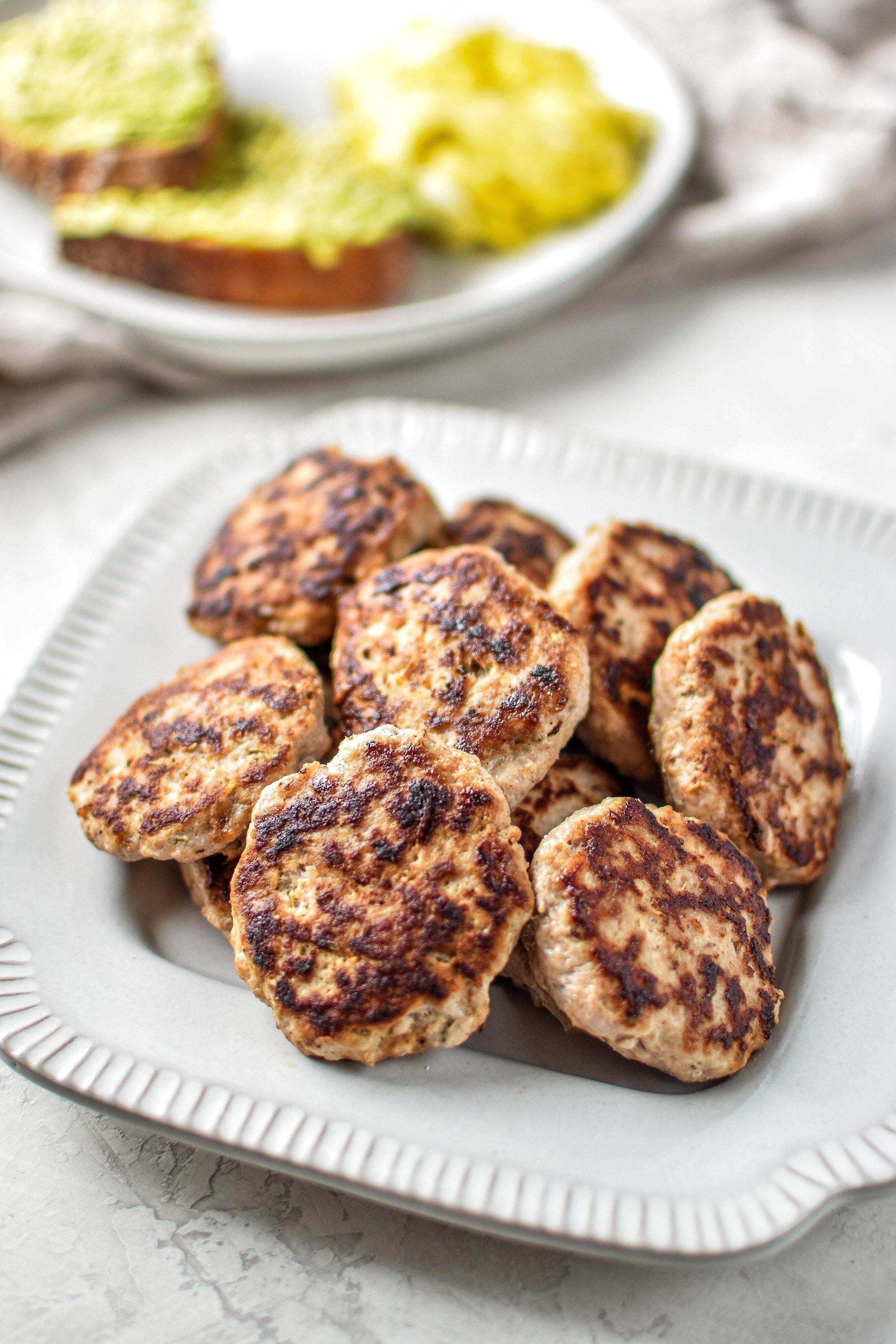 Plate of homemade ground turkey breakfast sausage patties.
