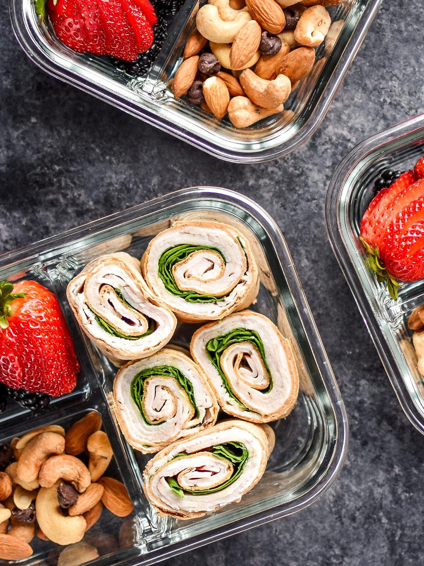 Top view of the flatout turkey sandwich pinwheel meal prep