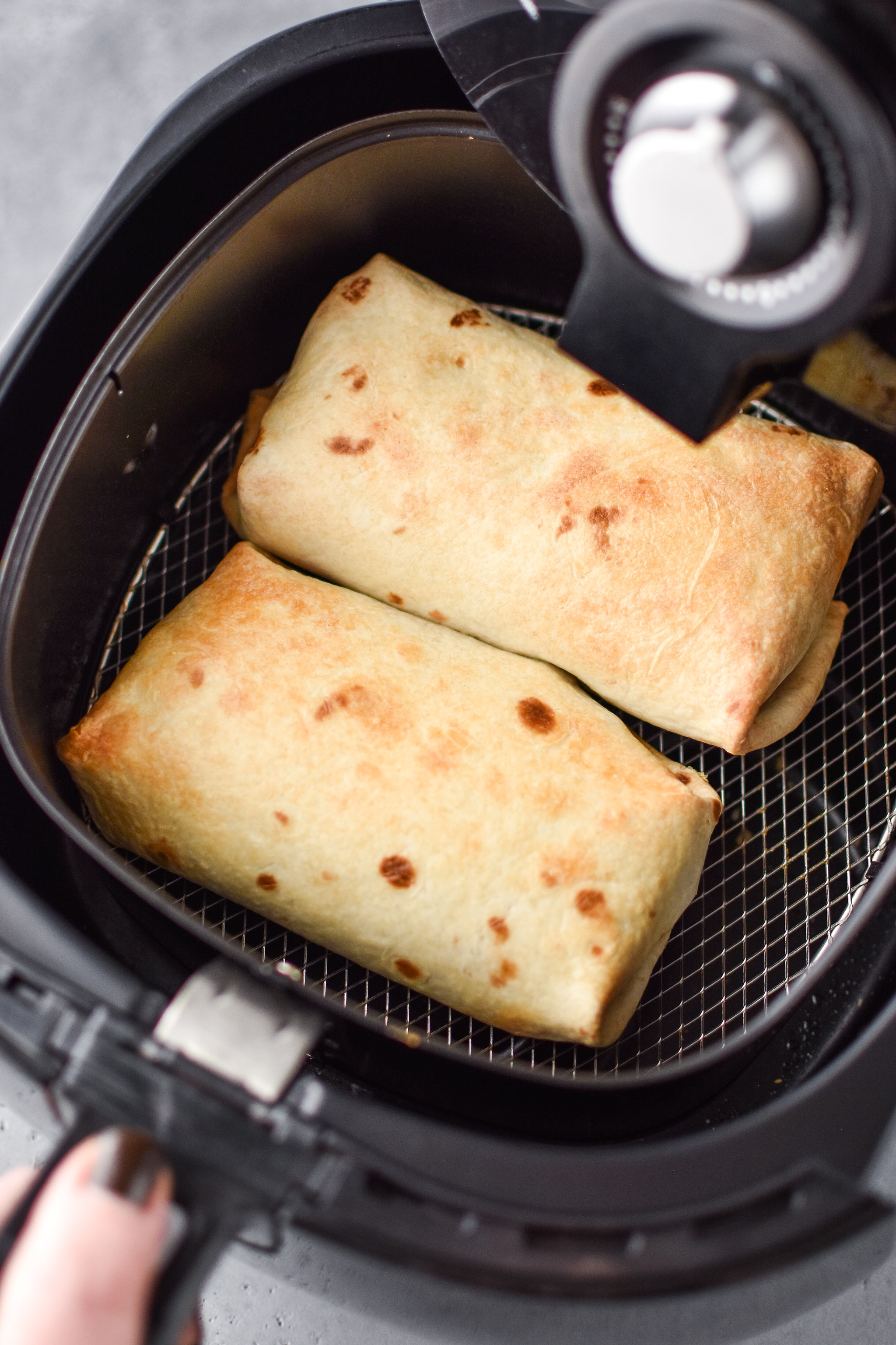 chimichangas fresh from the air fryer - how to make chimichangas in an air fryer
