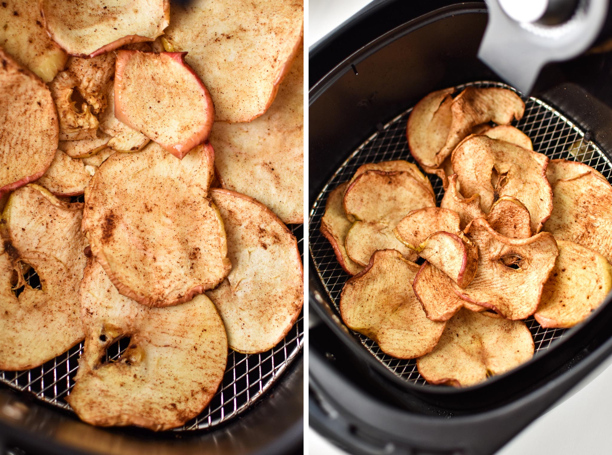 Left: Apple chips after 10 minutes in the air fryer. Right: Apple chips after 22 minutes in the air fryer