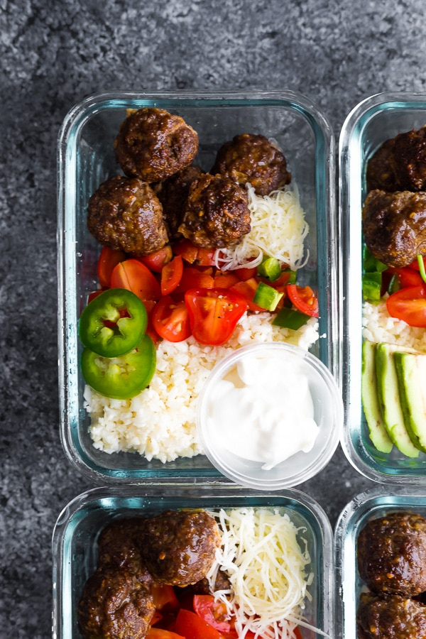 Low Carb Meatball Burrito Bowls portioned in meal prep containers. Meal Prep Lunch Recipes