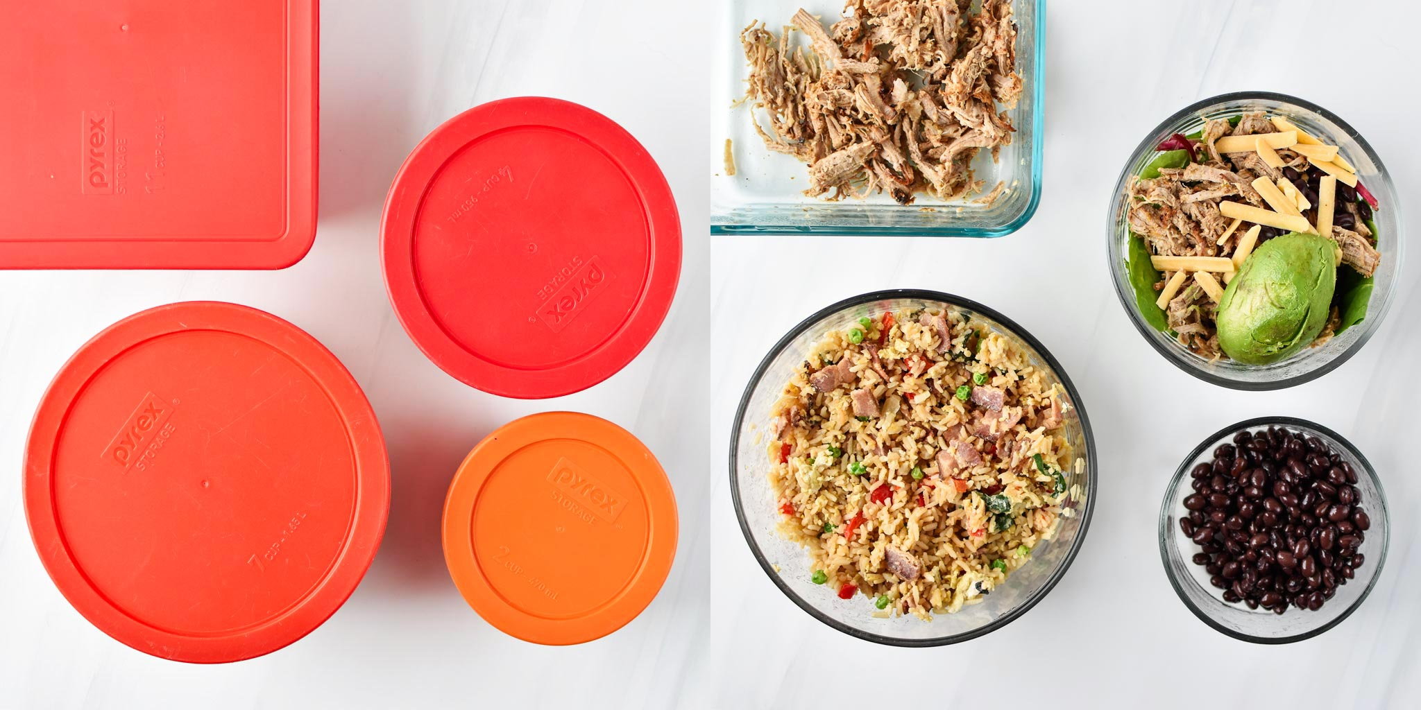 Various stored leftovers in Pyrex containers from my fridge, one side with lids on and one side with lids off.