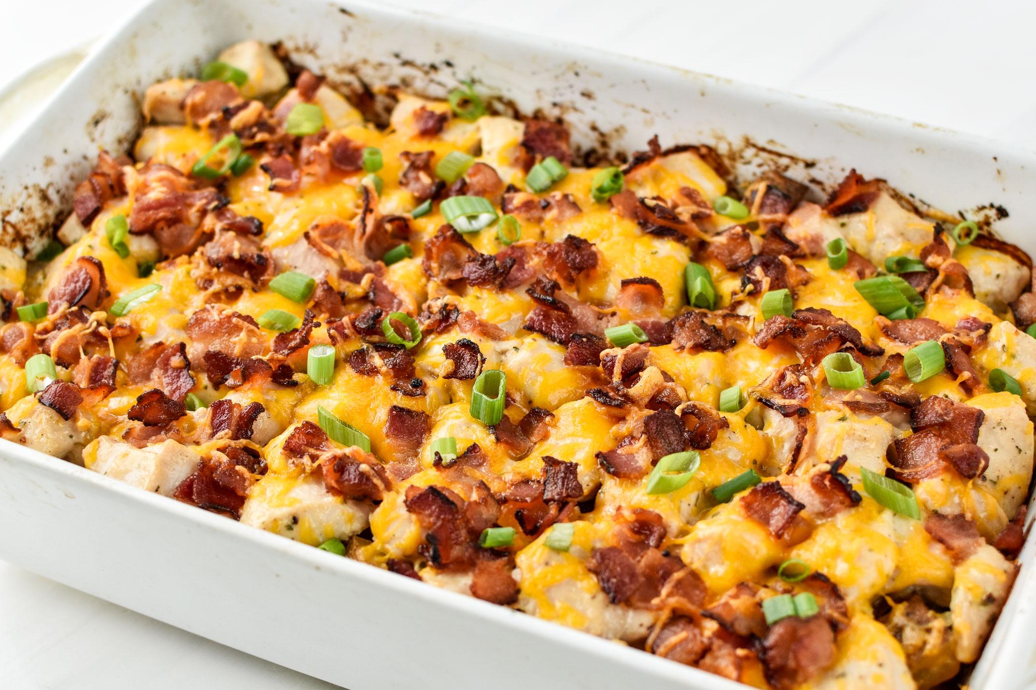 Chicken bacon ranch potato bake fresh from the oven