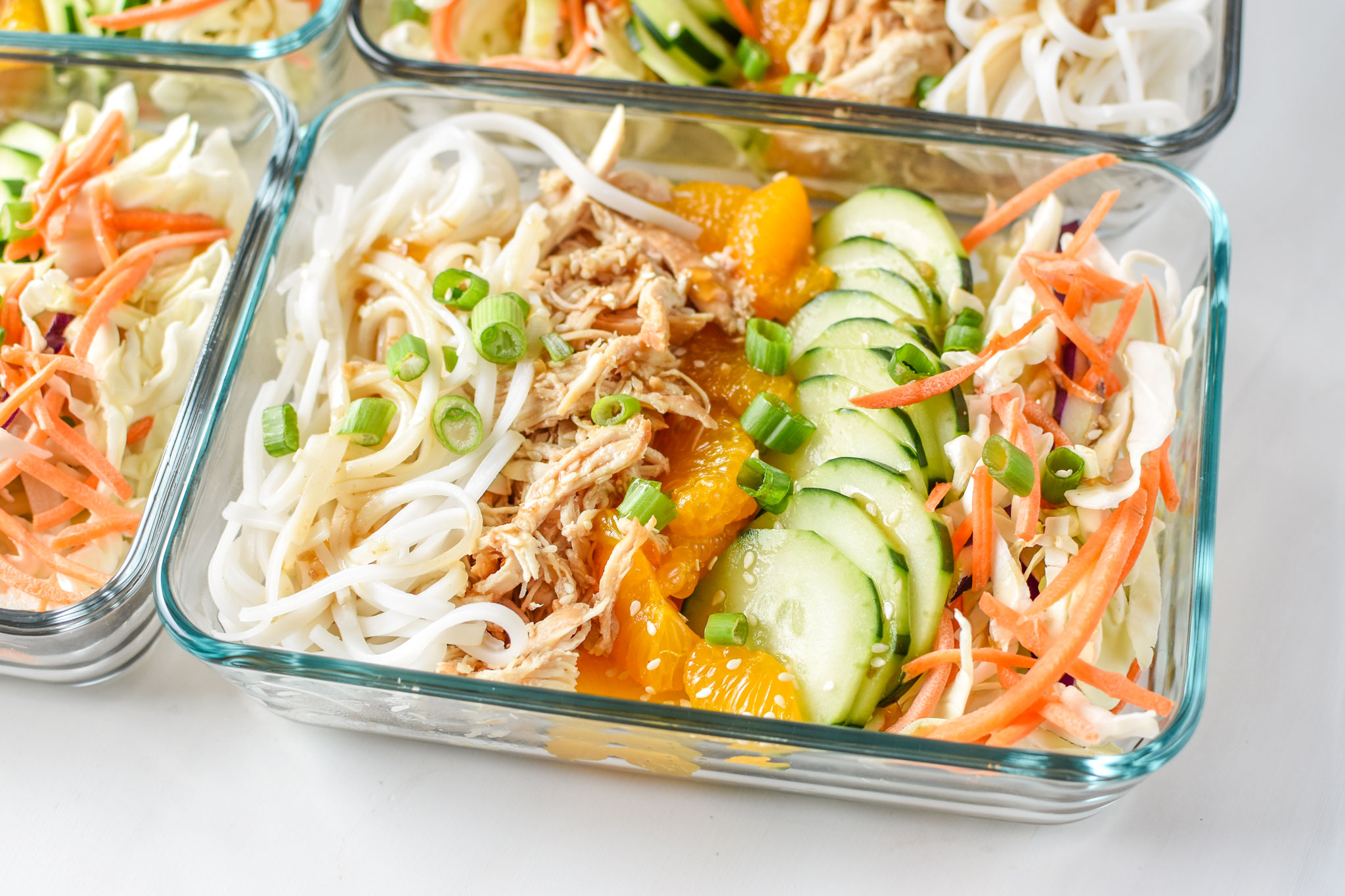 Sesame Chicken Cold Rice Noodle Salad Lunches perfect for meal prep