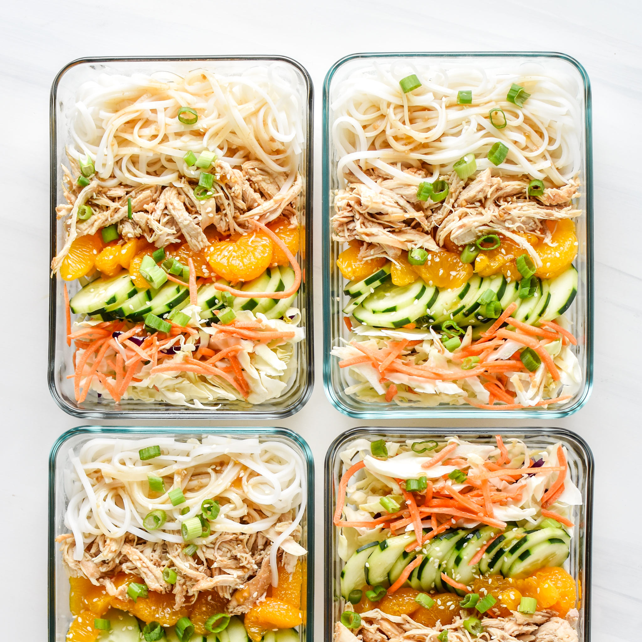 Sesame chicken Cold Rice Noodle Salad Lunches from above in meal prep containers