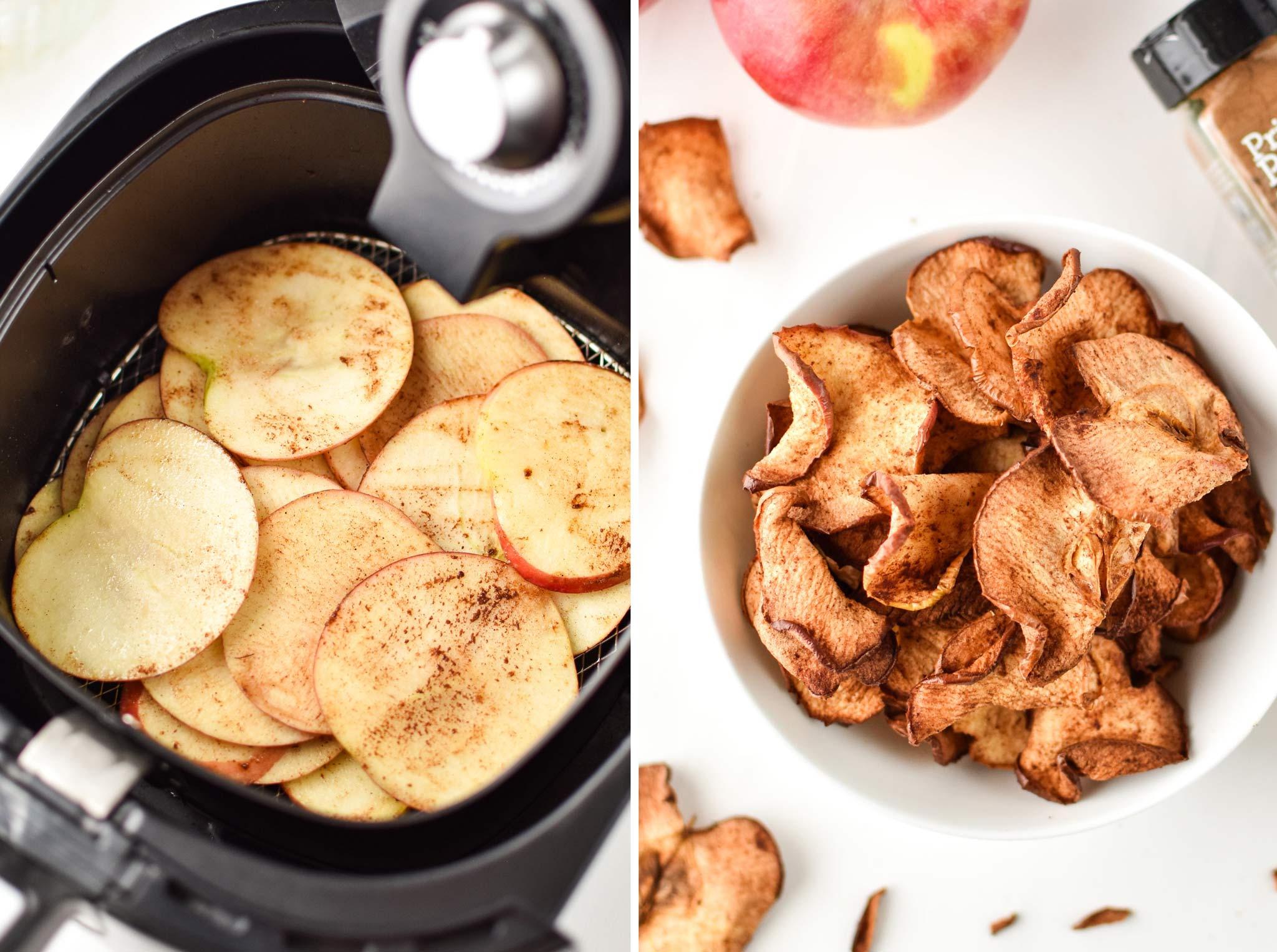 making apple chips in your air fryer isn't difficult - use one apple at a time and season with cinnamon!