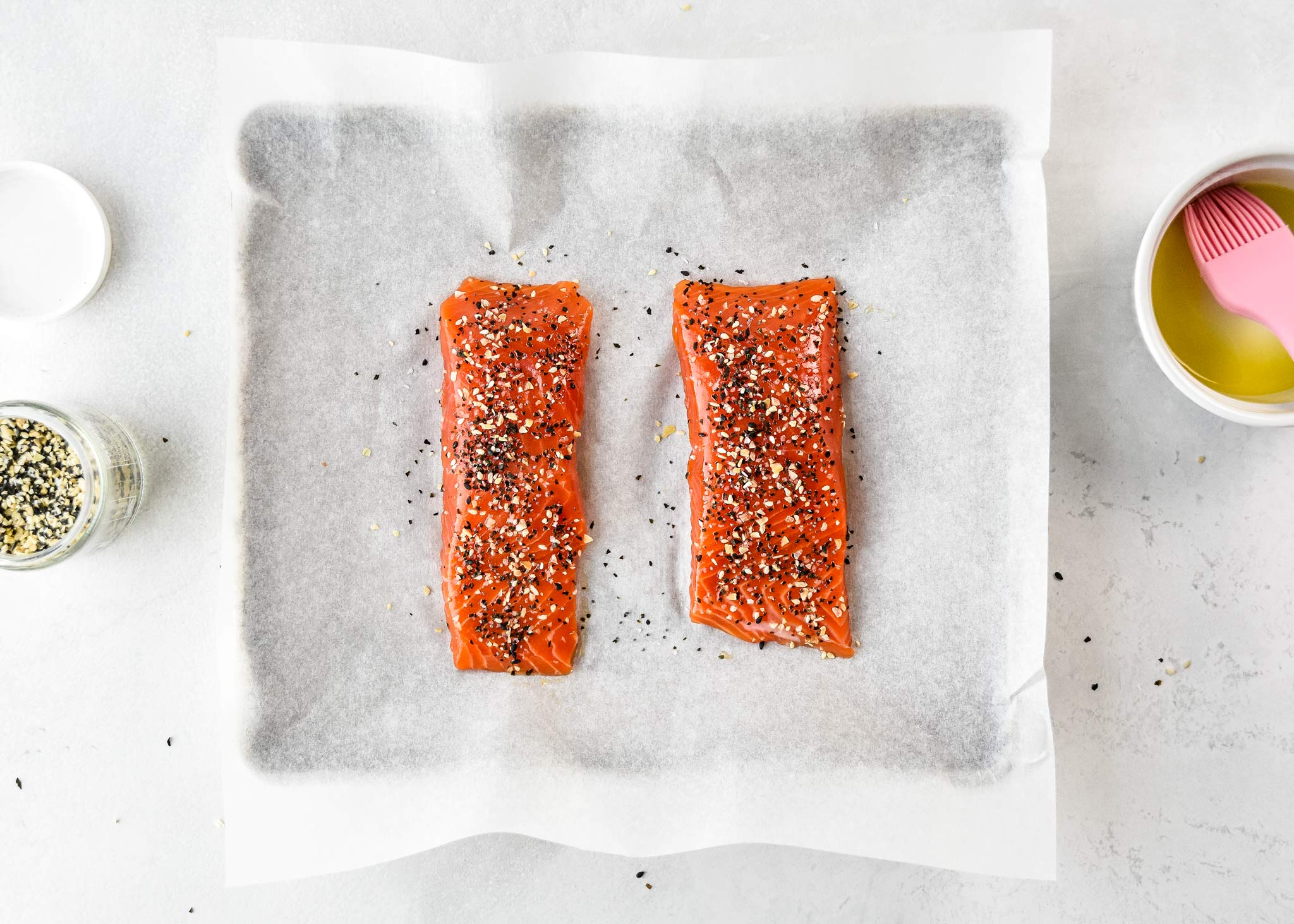 prepared salmon fillets for the everything bagel salmon salad